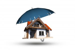 Home Insurance Coverage Abstract Illustration. Large Blue Umbrella Covering Single Family Home. 3D Illustration Isolated on White.