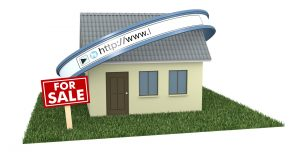 one house with a web address bar and a signboard with text: for sale, concept of real estate on the web (3d render)